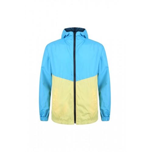 外套 拼色風褸 天藍黃版