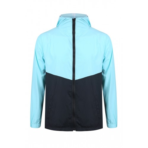 外套 拼色風褸 淺藍黑版