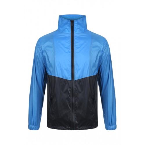 外套 拼色風褸 寶藍黑版