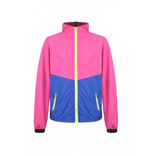 外套 拼色風褸 粉紅藍版
