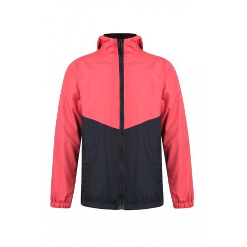 外套 拼色風褸 紅黑版